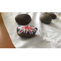 VE Day rock painting