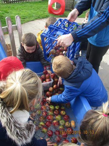Washing apples so they're ready to crush.