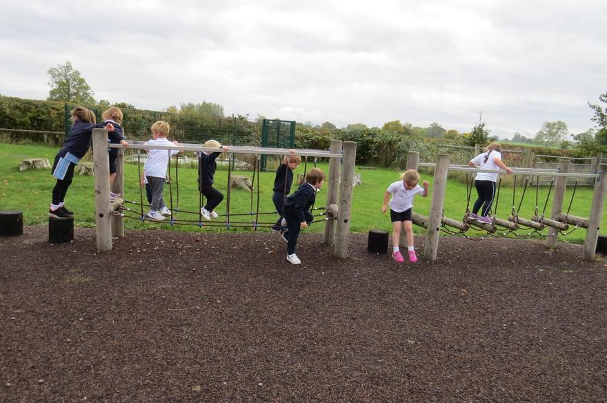 We were allowed to use the playground equipment this week!
