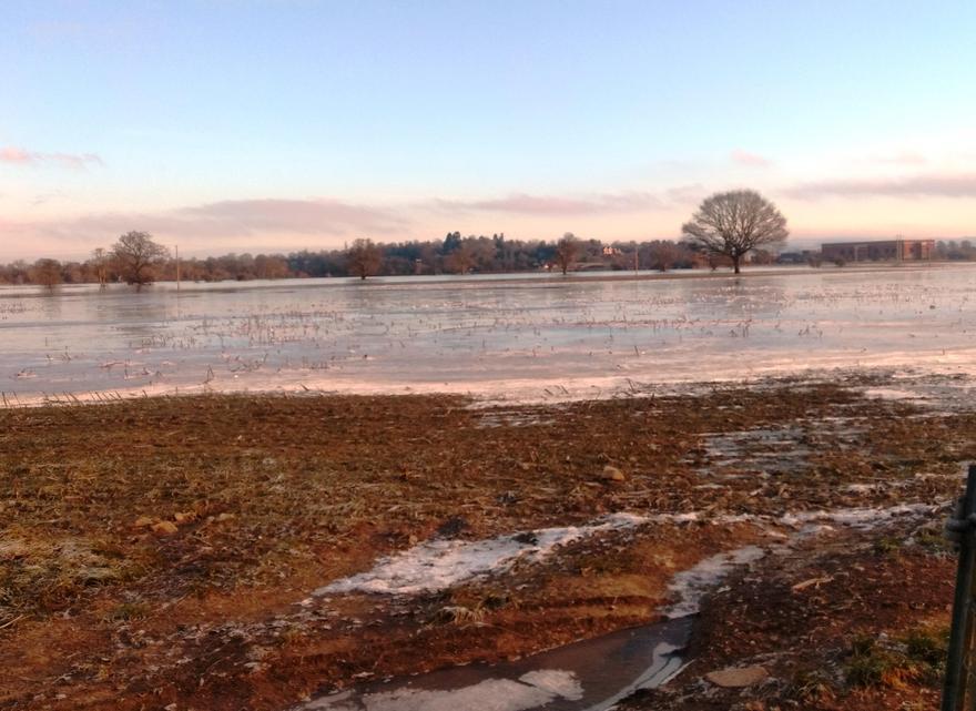 across frozen floods..