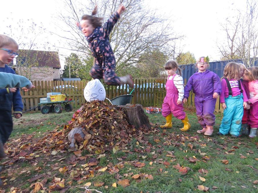 We made a guy and raked a big pile of leaves