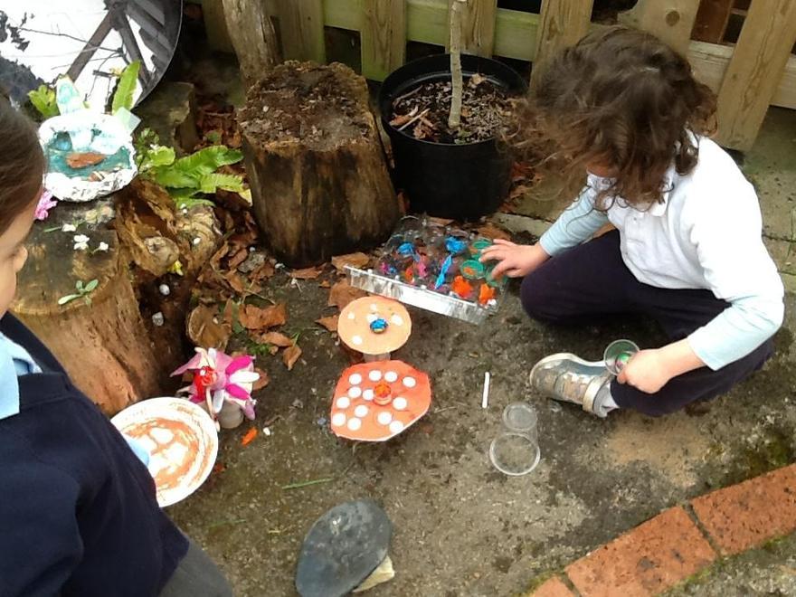 Making fairy gardens..