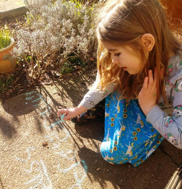 chalking outdoors.
