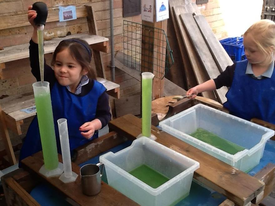 Lots of learning in the water tray.
