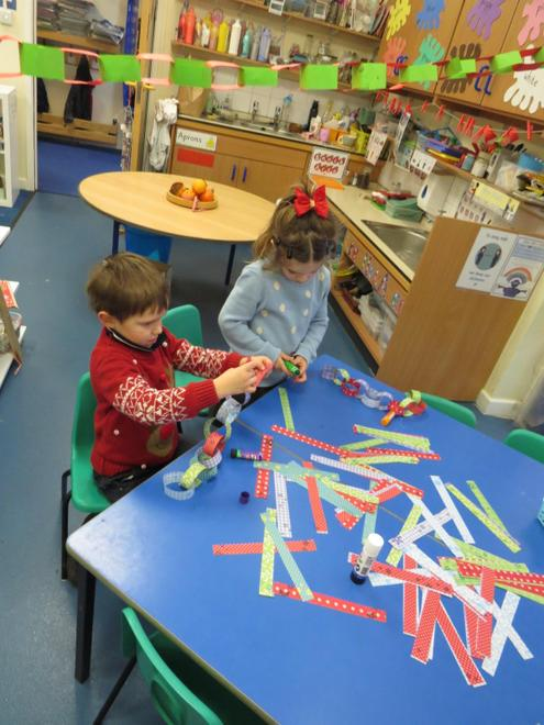 we made paper chains...