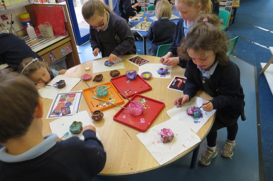 We used clay to shape diva lamps..