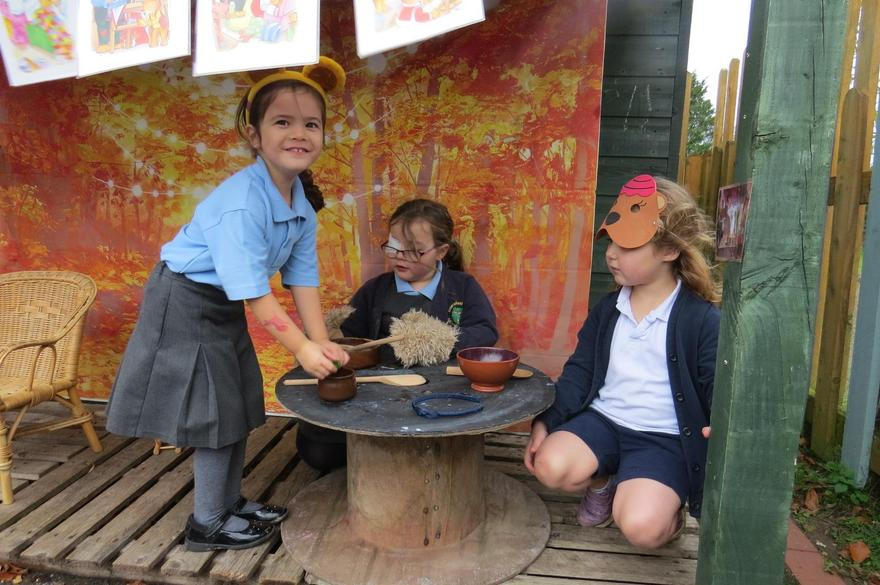 We acted out the story of 'Goldilocks and the 3 Bears..