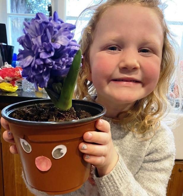 Proud gardener with green fingers!