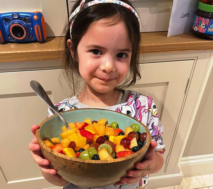 to make a colourful fruit salad.