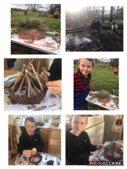 Archie's fire and stone age house!