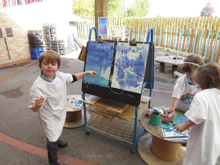We explored mixing shades of blue..