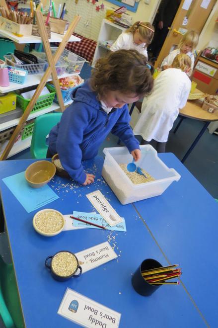 carefully measuring porridge