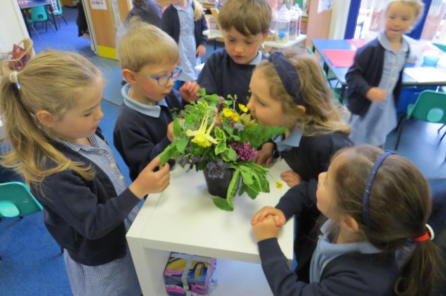 Using our senses to enjoy spring flowers.