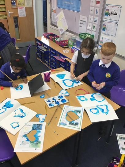 In art we explored positive and negative stencils. We really enjoyed being creative.