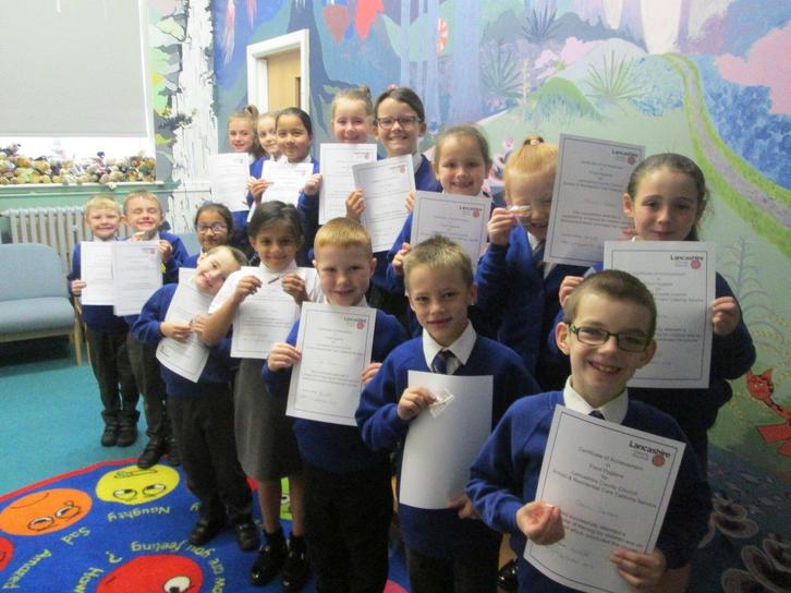 Lunchtime Monitors with their Food Hygiene Certificates