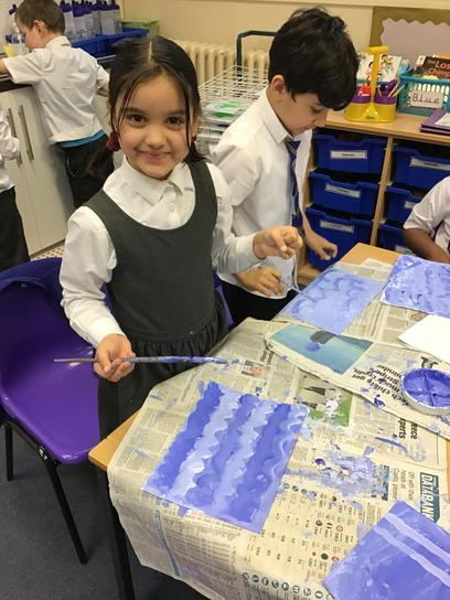 We learnt about Vincent Van Gogh and his Starry Night inspired our Christmas card designs.