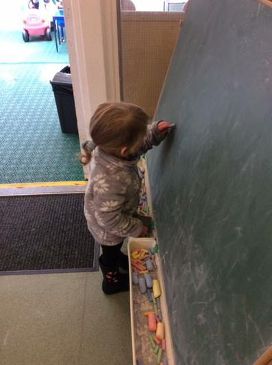 We have been using chalks to mark make