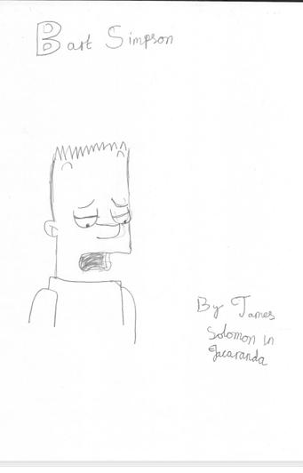 What a brilliant pencil drawing of Bart Simpson by James from Jacaranda!