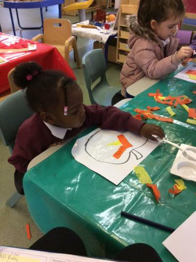 We have been using tissue paper to make pumpkins