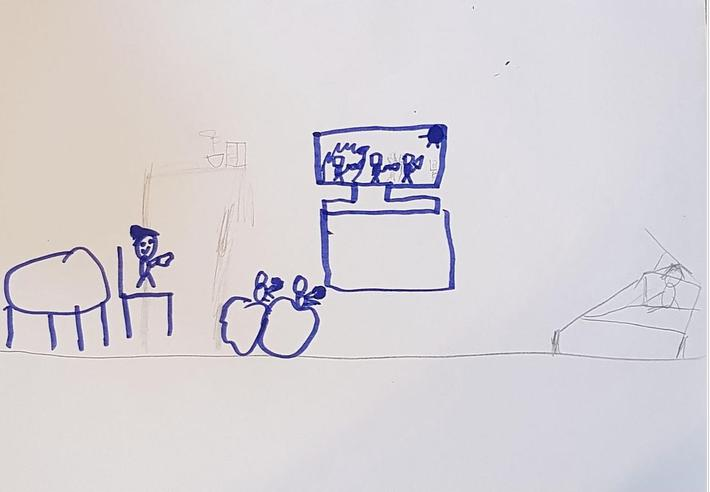 Playing Minecraft drawing by Kerrin in SilverBirch