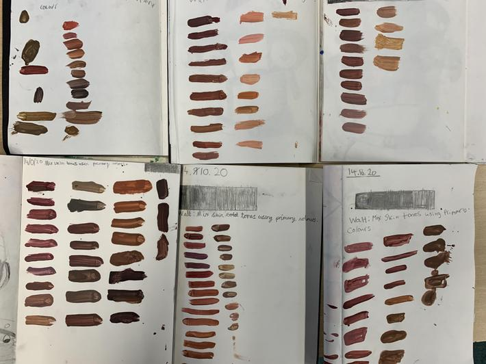 We used primary colours to make the different skin tones
