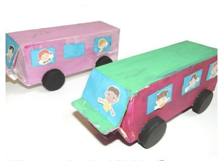 Make a vehicle out of an old juice or milk carton. Use the tops for wheels!