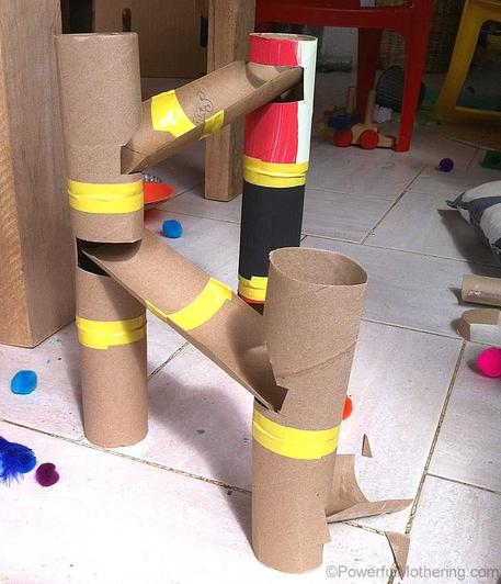 Make a marble run out of old loo rolls.