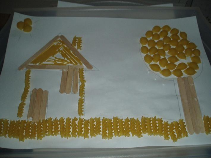 How about making a picture out of pasta?