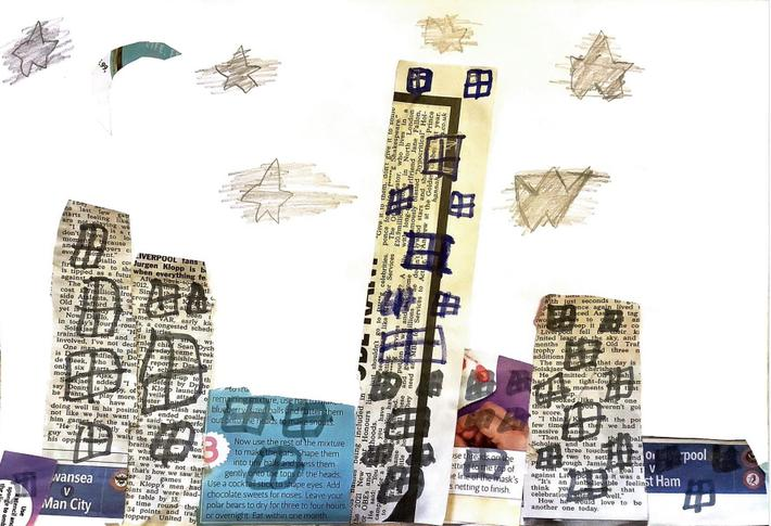 Brilliant cityscape using newspaper by Ruby-Leigh from Silver Birch