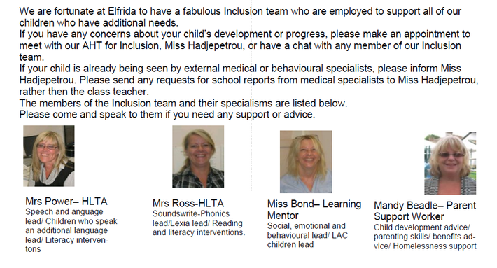 The Inclusion team is led by Mrs Hadjipetrou.
