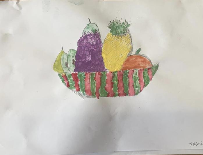 Fruit in a basket in water colour paint by Jasmine in Cypress