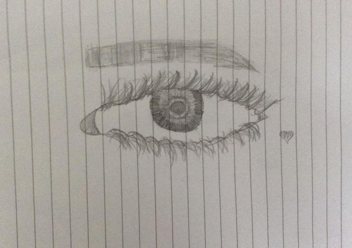 Left eye in pencil by Jetmira from Baobab