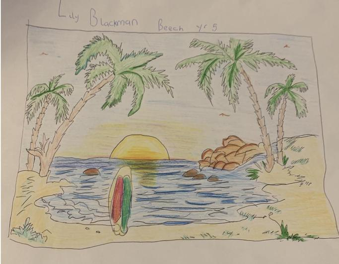 I want to be here right now! Wonderful tropical beach scene from LIly in Beech class