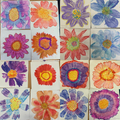 flowers using oil pastel and water colour paint