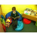 Jasper in the book corner