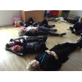 To helps us to feel calm, we had a lie down and listened to relaxing music.