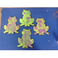 We splattered frogs with a paintbrush