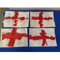 St Georges flags made with scrunched tissue