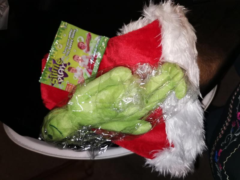 The Grinch sensory story including The Grinch, slime and Christmas hat