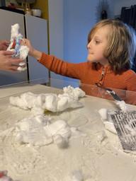 Noah enjoyed finding things in the foam