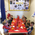 The children enjoying a Chinese buffet for snack