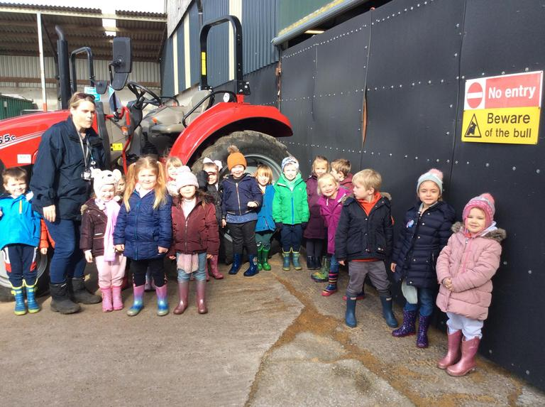 We looked at the different tractors on the farm.
