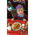Enjoying Christmas lunch.