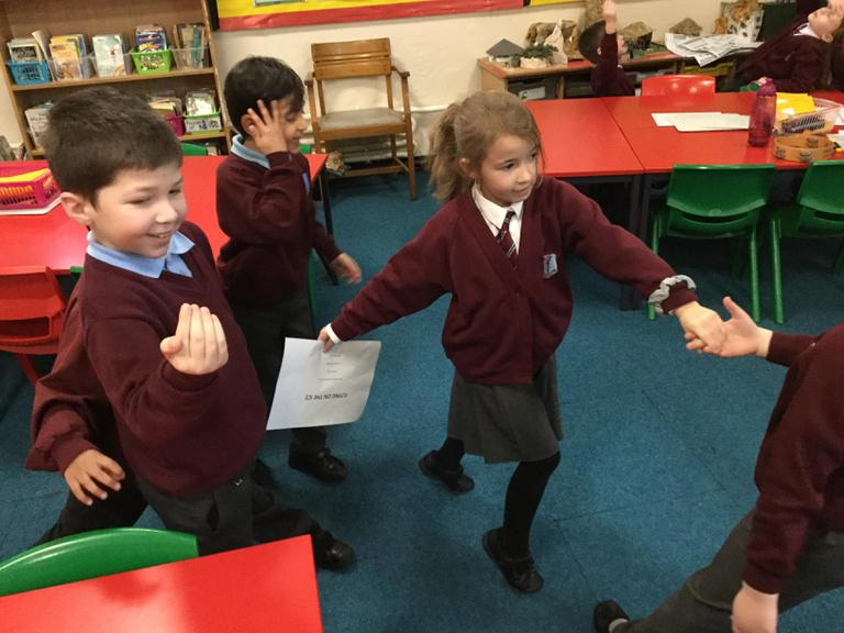 Acting out scenes from The Snow Queen