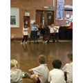 Striking a pose in a dance lesson!
