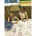 Enjoying Snow Queen colouring activities.