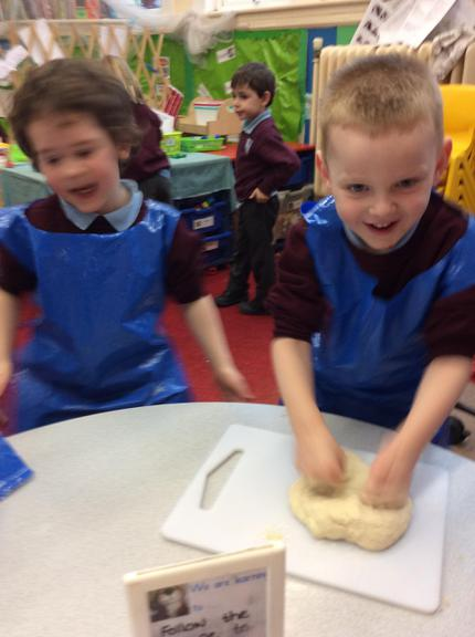 Kneading the dough- Little Red Hen