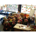Showing off our bonnets ready for the parade