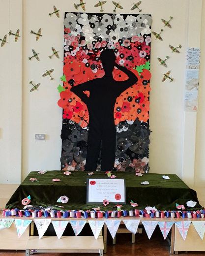 Whole school art created using poppies