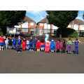 We went outside in our fab superhero costumes